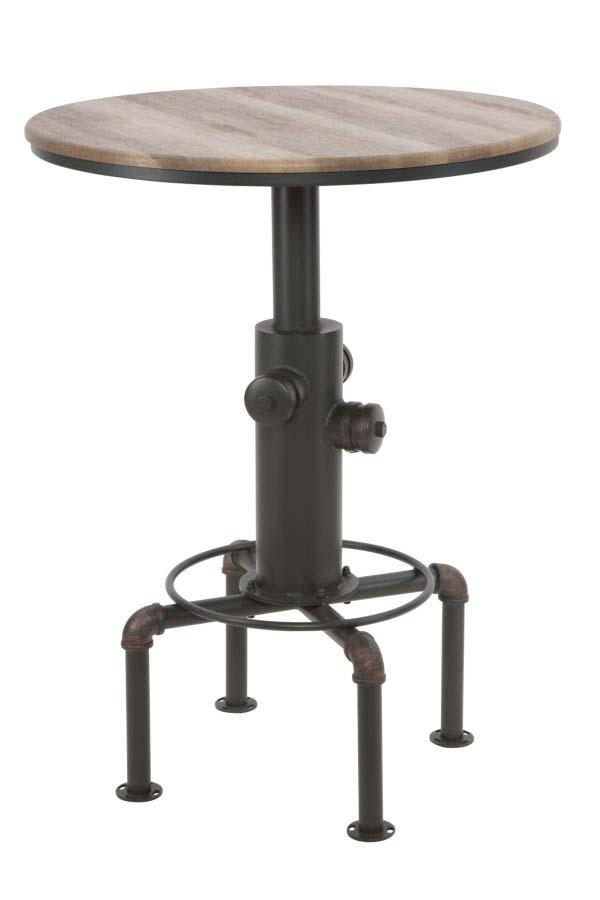Masă de bar Fifth Avenue, 16.5x81x81 cm, metal/ mdf, negru/ maro