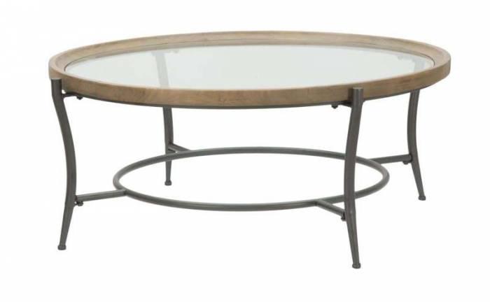 Masă de cafea Glasgow, 43x106x106 cm, lemn de brad/metal/ sticla, maro/ negru/ gri