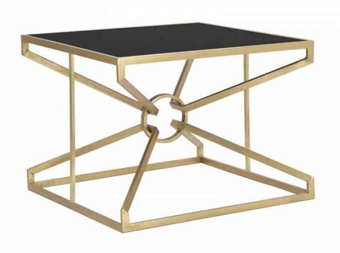 Masă mică  Maxim, 45x60x60 cm, metal/mdf/ sticla, negru/ auriu