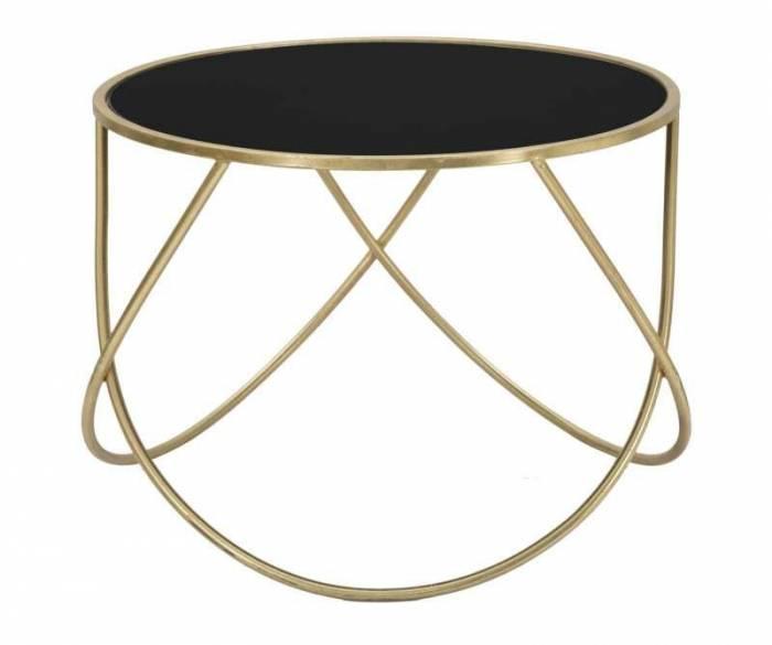 Masă mică Ring, 45x60x60 cm, metal/mdf/ sticla, negru/ auriu