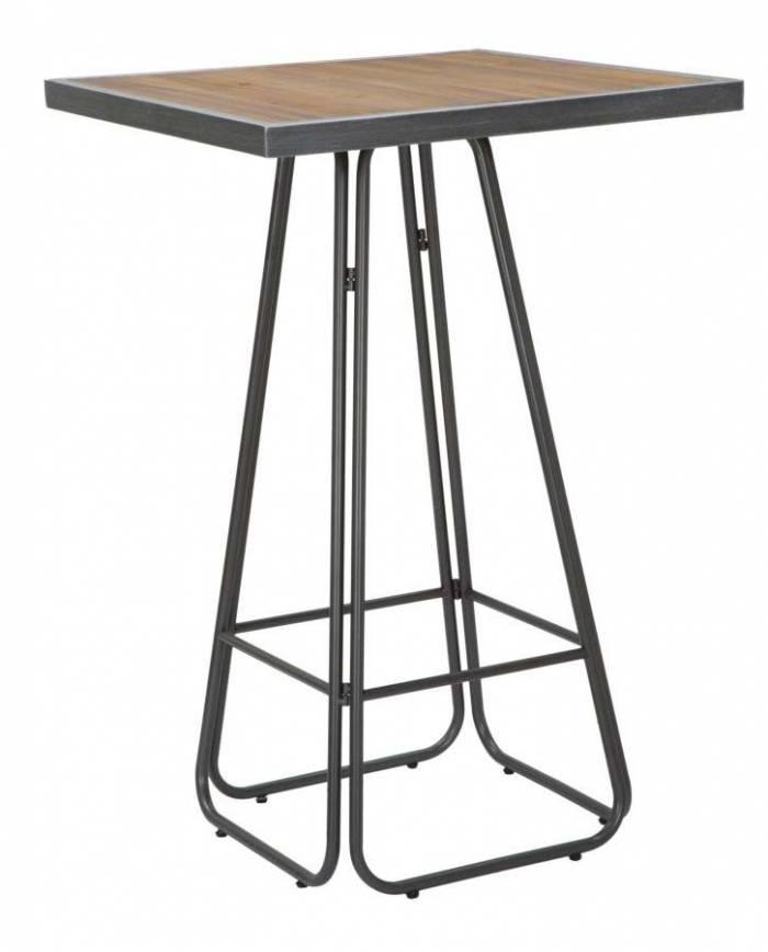 Masă patrată de bar Dublin, 106x70x70 cm, metal/ lemn de brad, maro/ negru/ gri