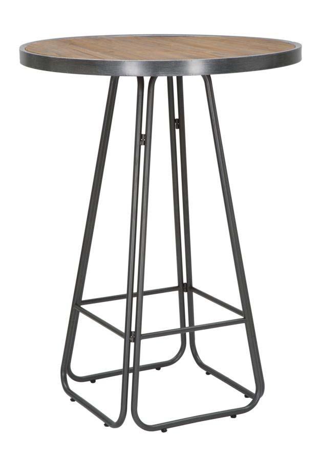 Masă rotundă de bar Dublin, 106x80x80 cm, metal/ lemn de brad, maro/ negru/ gri