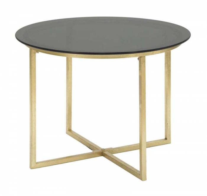 Masa rotundă de cafea Glam, 43x58x58 cm, metal/ sticla, negru/ auriu