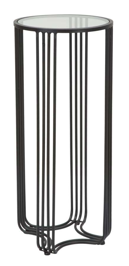 Masuța de telefon Dublino, 80x35x35 cm, metal/ lemn de brad, negru