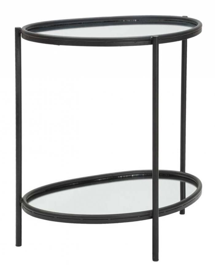 Măsuță Maycos, 58,4x53,3x36,8 cm, metal/ sticla, negru