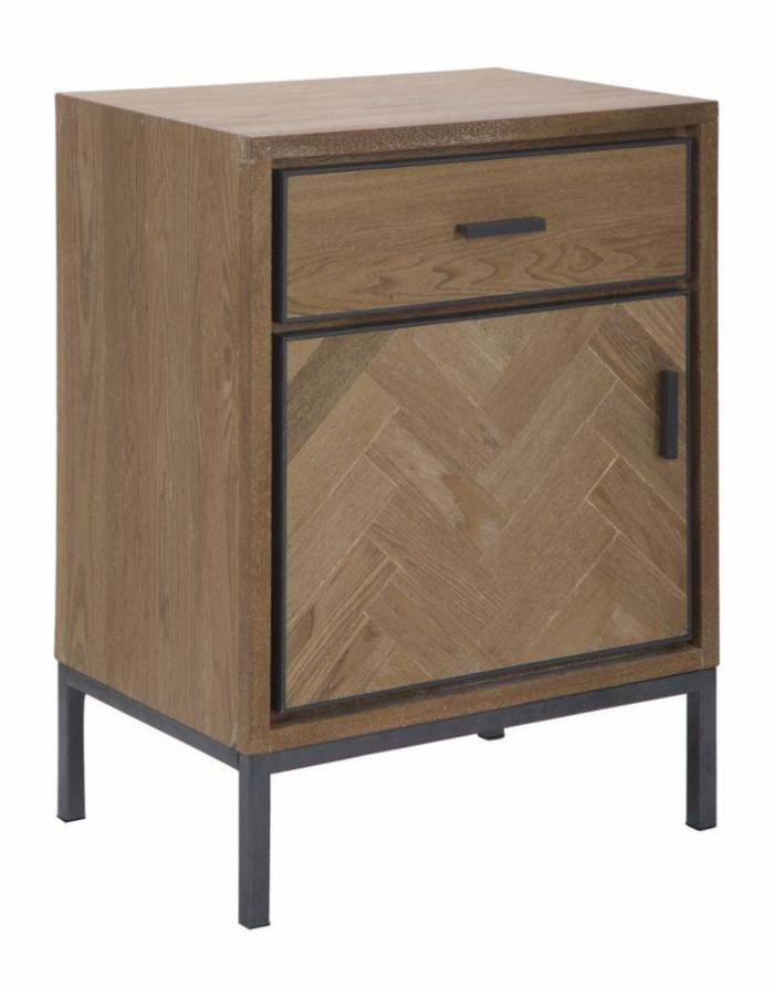Noptieră Male, 68,5x48x36 cm, lemn de brad/ furnir/ mdf/ metal, maro/ gri