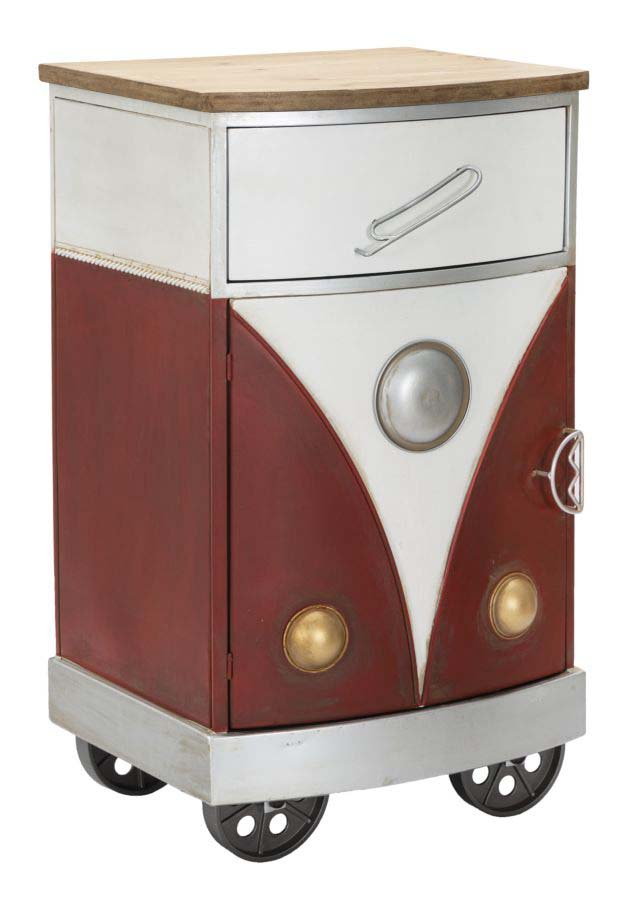 Noptieră Van, 80x46x42 cm, lemn de brad/ mdf/ metal, rosu/ alb