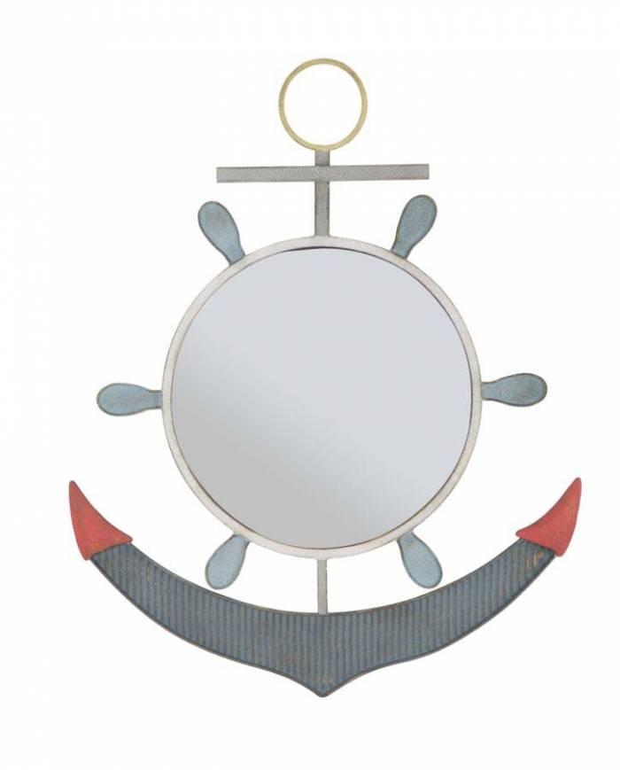 Oglindă de perete Ancora, 85x69x3,5 cm, metal/ sticla, albastru/ rosu