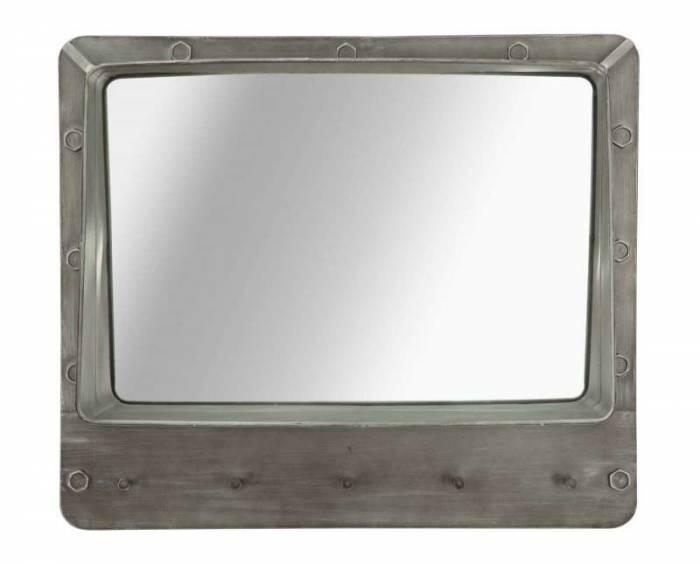 Oglindă de perete Bolt, 60x70x19.5 cm, metal/ sticla, gri
