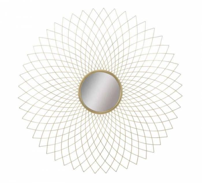 Oglindă de perete Eclipse, 99,5x99,5x6 cm, metal/ mdf/ sticla, auriu