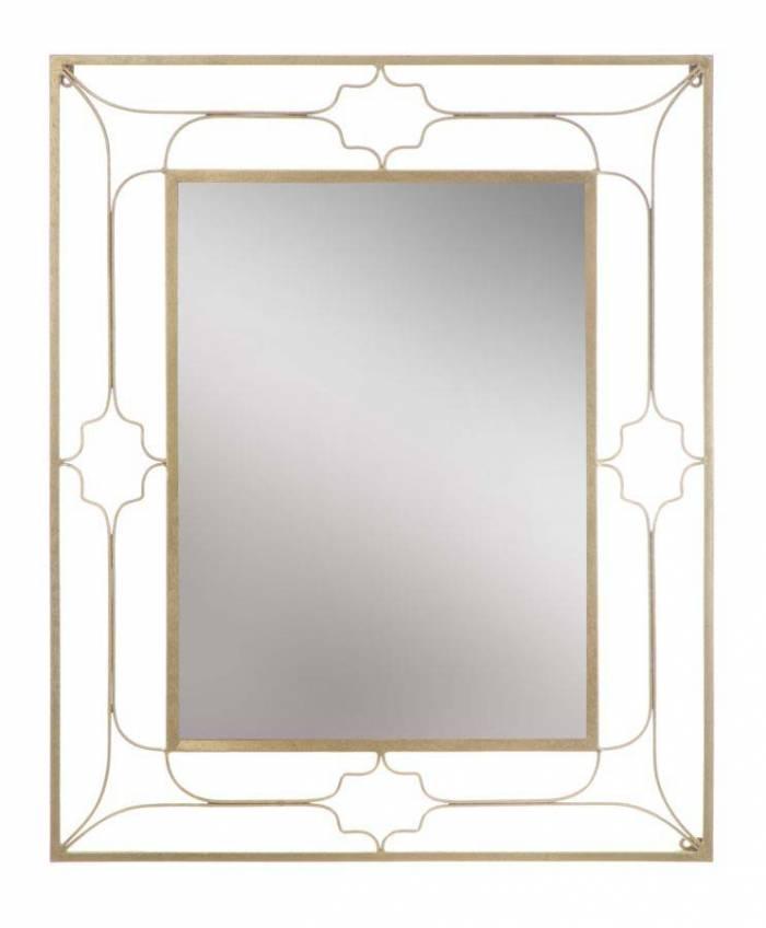 Oglindă de perete Glam, 100x80x3 cm, metal/ mdf/ sticla, auriu