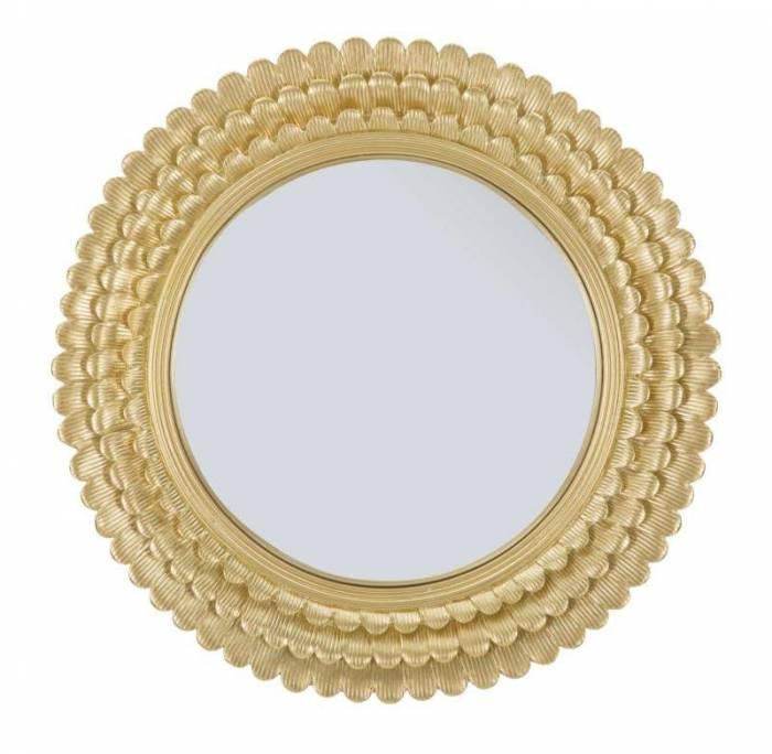 Oglindă de perete Glam, 43x43x1,8 cm, metal/ sticla, auriu