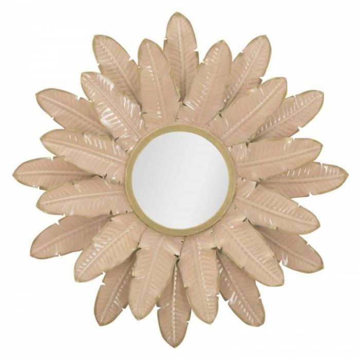 Oglindă de perete Glam, 64.5x64.5x4.5 cm, metal/ sticla, roz