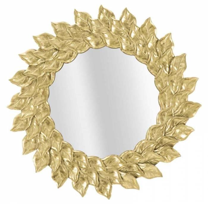 Oglindă de perete Glam, 73x73x5 cm, metal/ sticlă, auriu