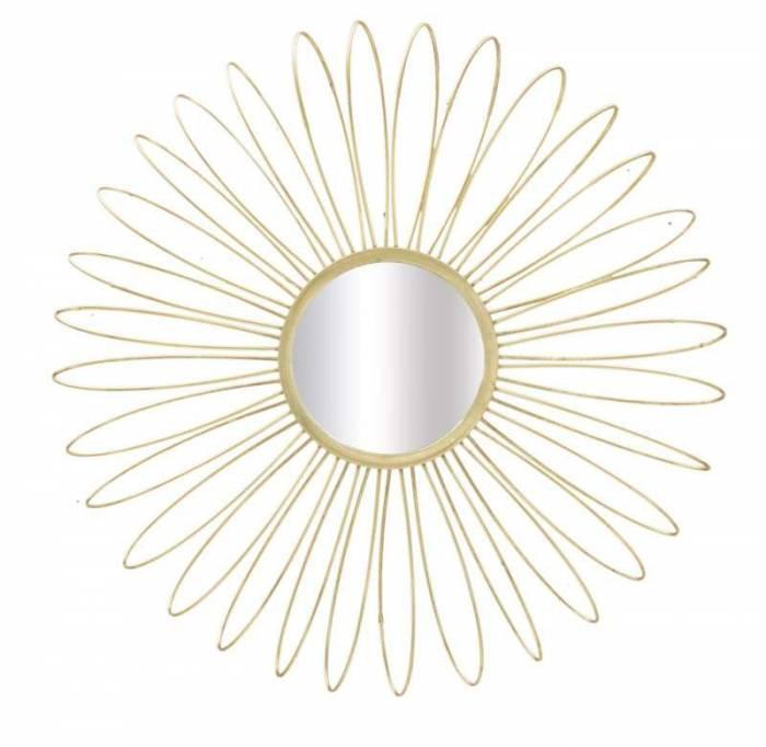 Oglindă de perete Glam Daisy, 92x92x9 cm, metal/ sticla, auriu