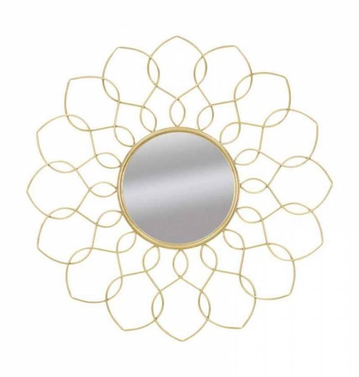 Oglindă de perete Glam Girc, 90x90x5 cm, metal/ sticla, auriu