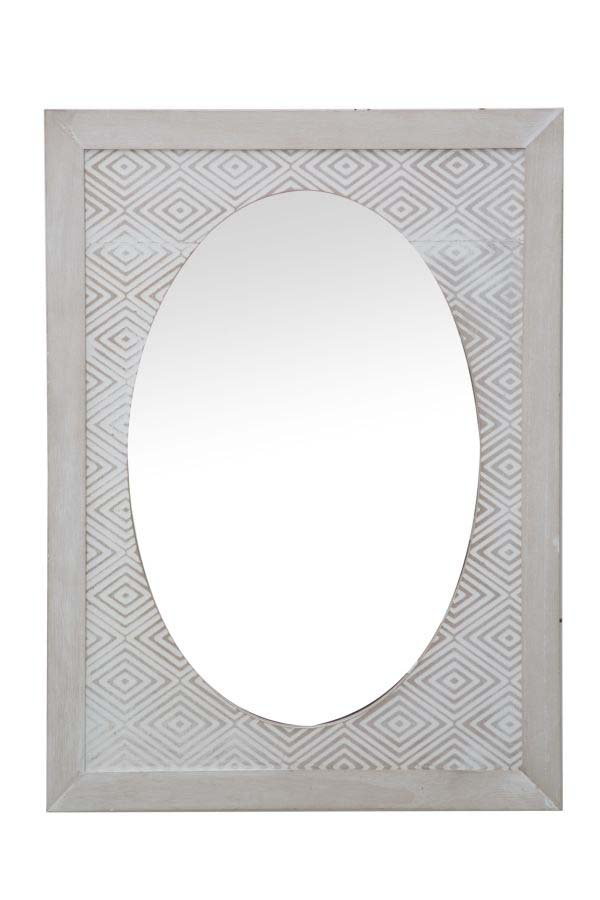 Oglindă de perete Hypnos, 65x48x2 cm, mdf/ sticlă, alb/ gri