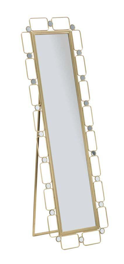 Oglindă de podea Glosh, 170x50x3 cm, metal/ sticla, auriu