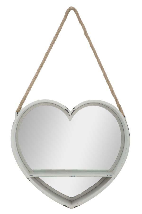 Oglindă Love, 38.5x43.5x11 cm, metal/ sticla, alb