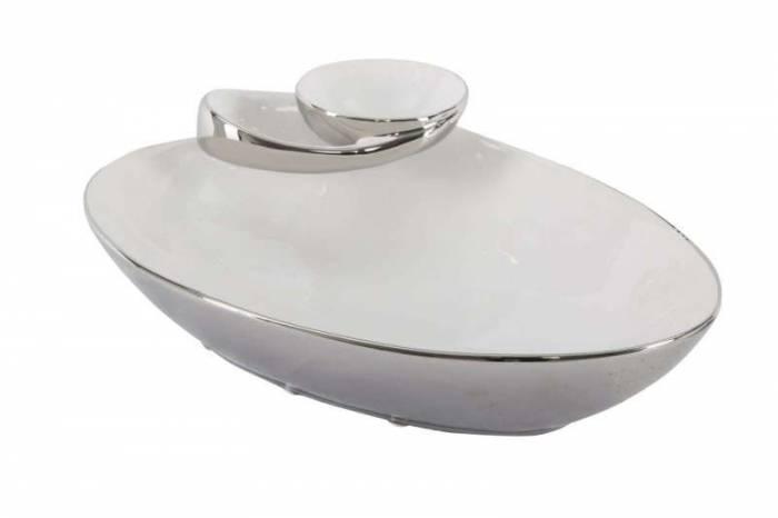 Platou Soap, 11.5x37x26 cm, ceramica, alb/ argintiu