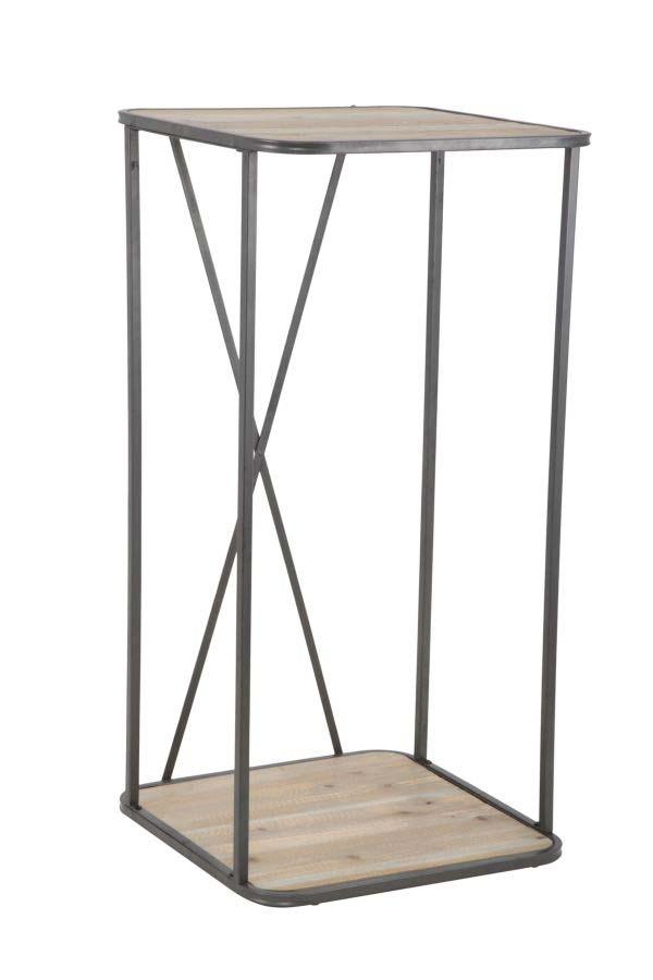 Raft Vintage, 100x50x50 cm, metal/ lemn de brad, negru/ maro