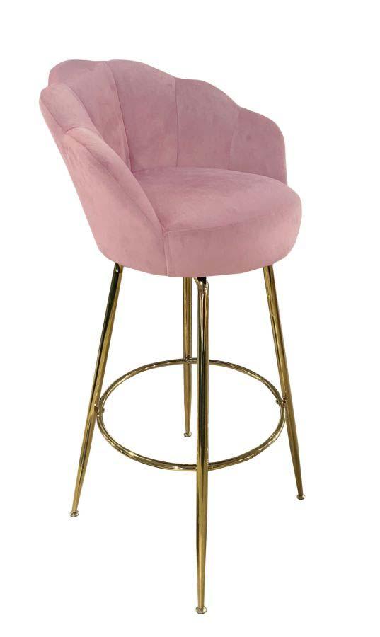 Scaun de bar Vienna, 110x55x53 cm, textil/ metal, roz/ auriu