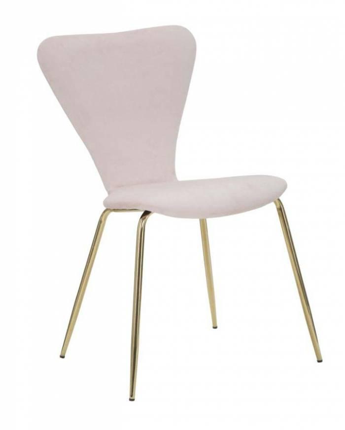 Scaun de dining Glam, 80x45x50 cm, metal/ poliester, roz/ auriu