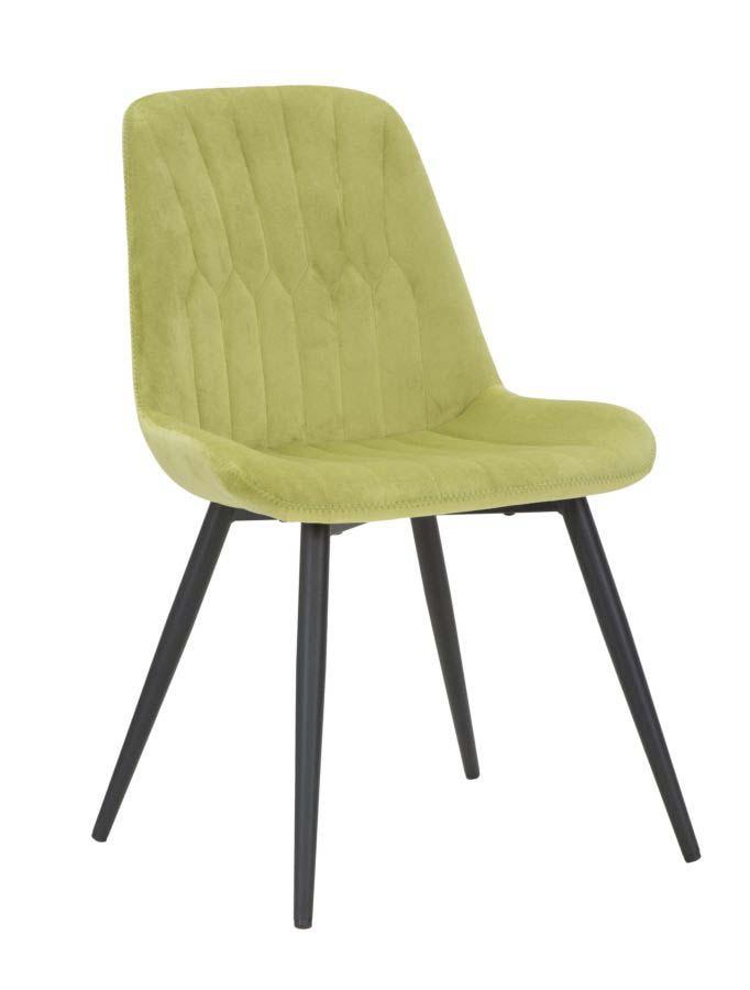 Scaun de dining Glam, 84x53x58 cm, metal/ poliester, verde/ negru