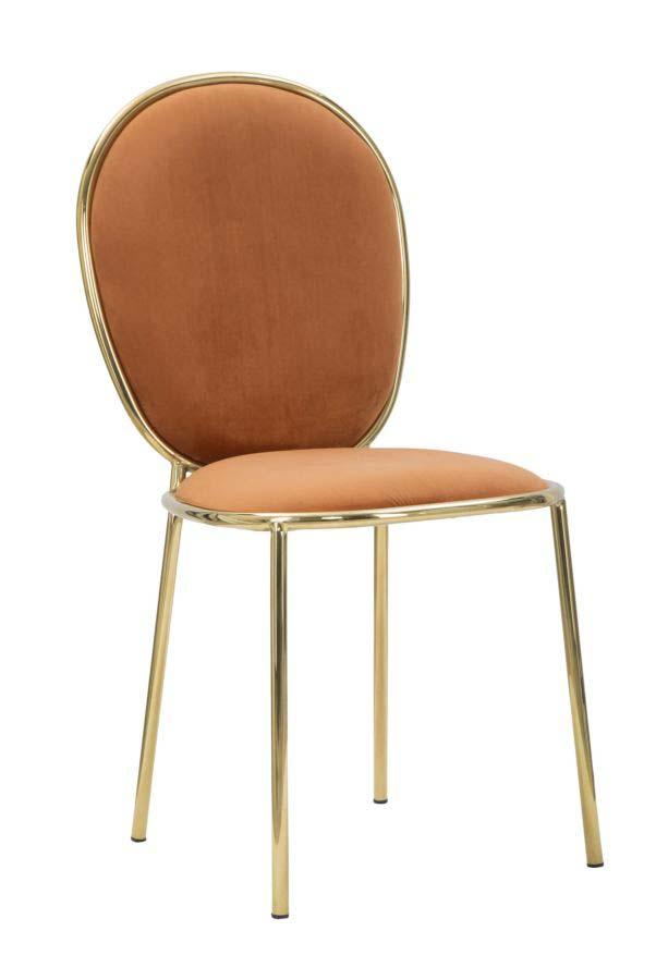 Scaun de dining Glam Emily, 90x44x50 cm, metal/ poliester, auriu/ portocaliu