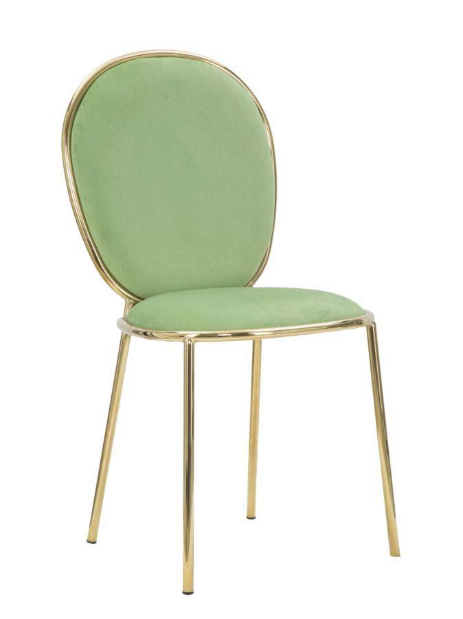 Scaun de dining Glam Emily, 90x44x50 cm, metal/ poliester, auriu/ verde