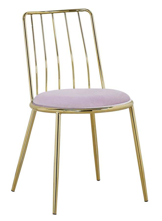 Scaun de dining Glam Ludovic, 80x45x50 cm, metal/ poliester, auriu/ roz