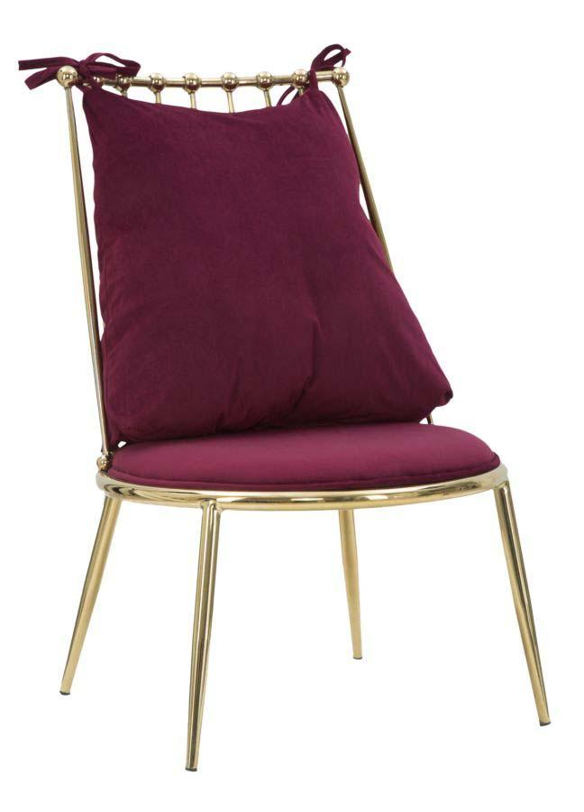 Scaun tapițat Glam Backy, 83x55x60 cm, metal/ poliester, auriu/ bordo