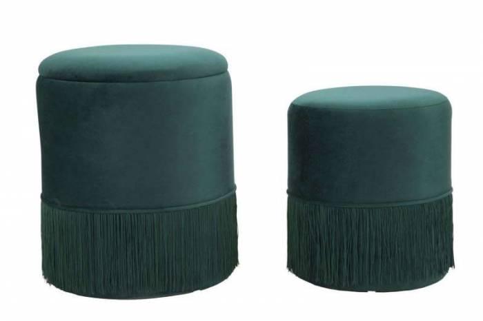 Set 2 taburete verzi cu spațiu de depozitare Lines Couple