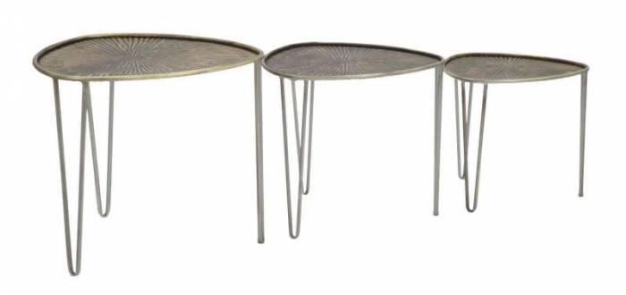 Set trei măsuțe de cafea Delhi, 47 /41 /35x53,5/45,5/38x54/ 46/38 cm, metal, negru/ bronz