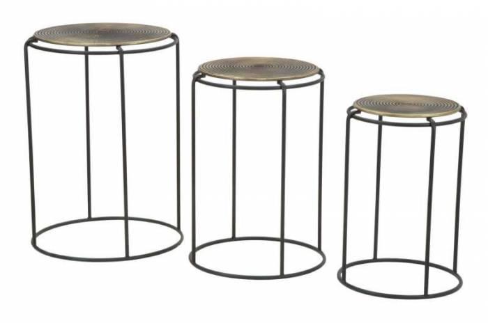 Set trei măsuțe de cafea Roundy, metal, negru/ bronz