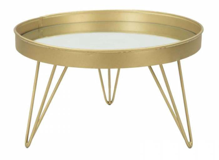 Stativ Glam Auriu, 18x31x31 cm, metal/ sticla, auriu