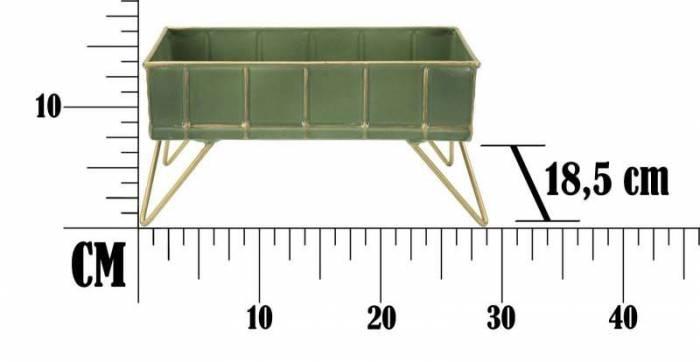 Stativ Glam Verde, 14.5x28x18.5 cm, metal, verde/ auriu