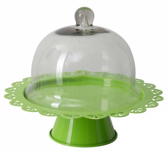 Suport prăjituri Fan, 22.5x27.5x27.5 cm, metal/ sticla, verde