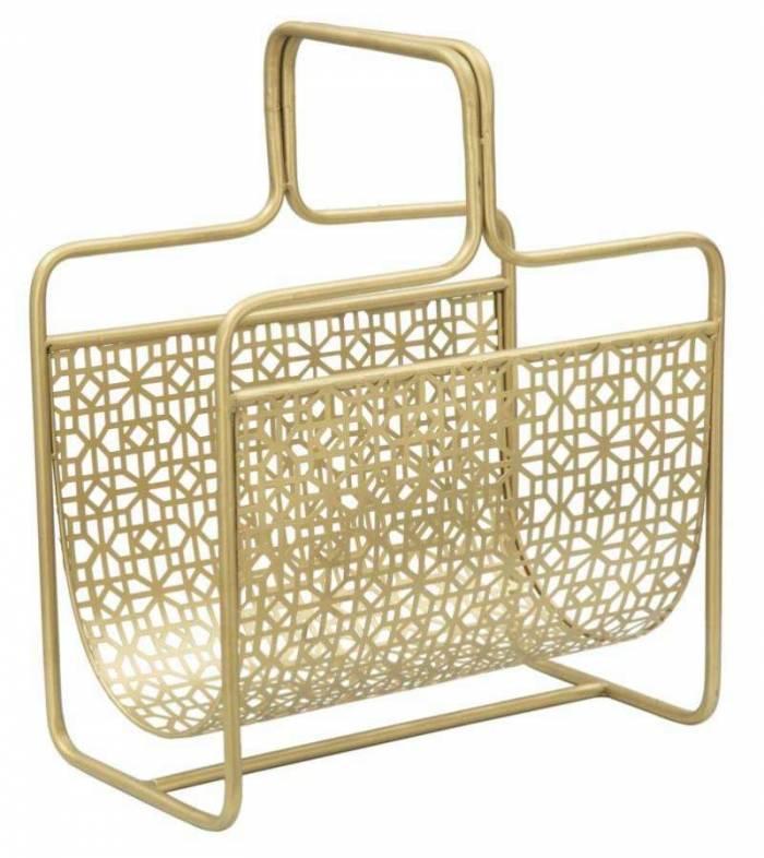 Suport reviste Glam, 44.5x37x22 cm, metal, auriu