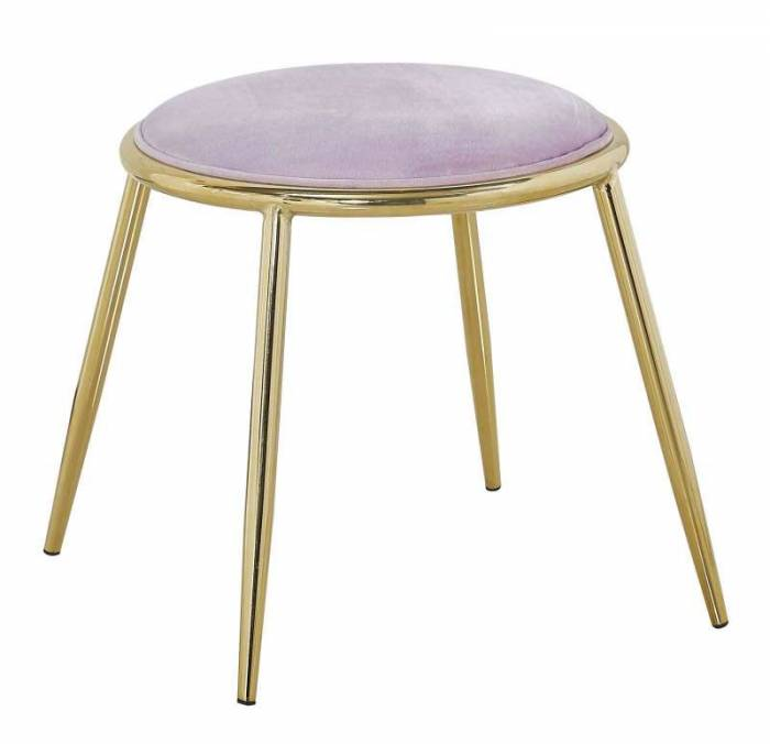 Taburet Emily , 45x45x45 cm, metal/ poliester, auriu/ roz