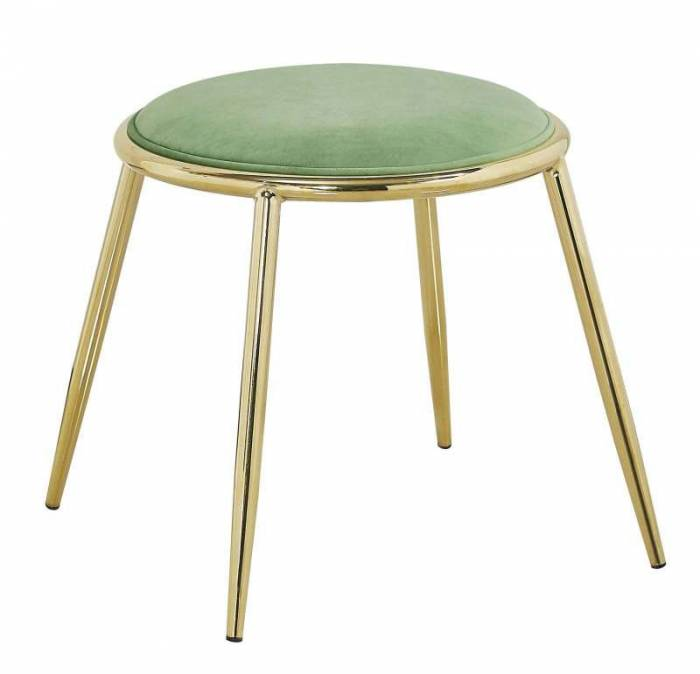 Taburet Emily , 45x45x45 cm, metal/ poliester, auriu/ verde