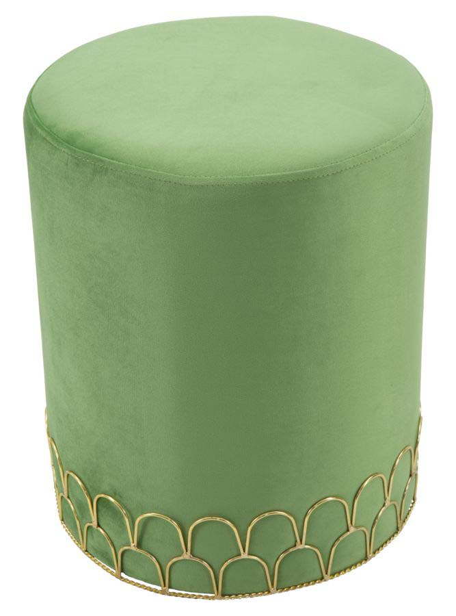 Taburet tapițat Ring, 42x35x35 cm, lemn de pin/ placaj/ metal/ poliester, verde/ auriu