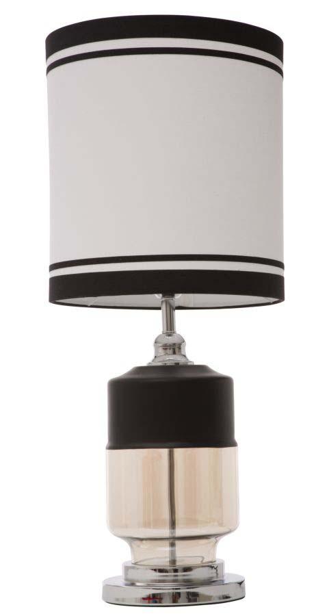 Veioză Elegant, 75x32x32 cm, sticla/ textil, alb/ negru
