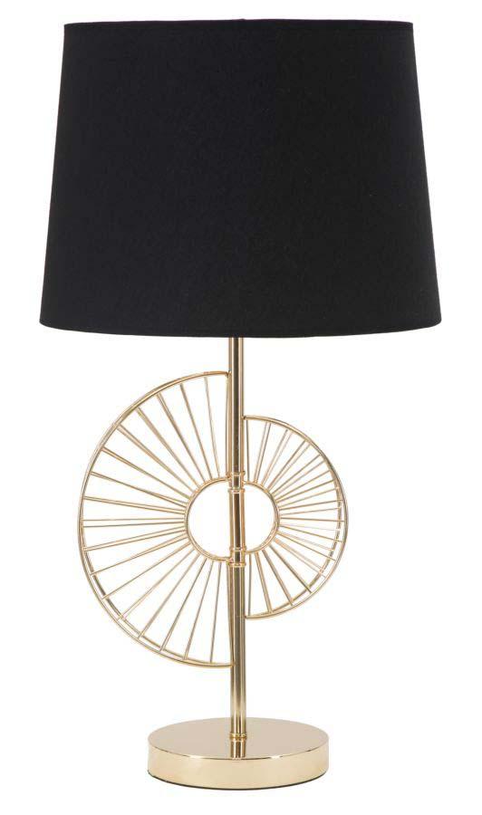 Veioză Glam Half, 61x32,5x32,5 cm, metal/ hartie/ textil, negru/ auriu
