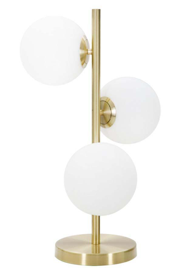 Veioză Glamy Luci, 54x26x26 cm, metal/ sticla, auriu/ alb