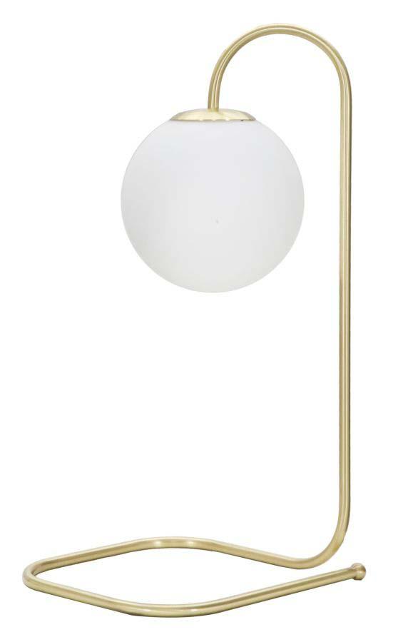 Veioză Glamy Twist, 55x30x34 cm, metal/ sticla, auriu/ alb