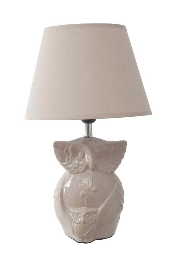 Veioză Gufo, 42x28x20 cm, ceramica/ textil, maro