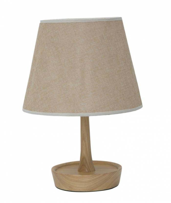 Veioză Lara, 49x25x25 cm, lemn/ textil/ metal, maro