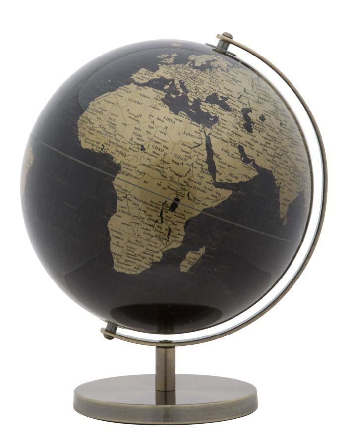 Decorațiune Globe B, 34x25x25 cm, plastic/ metal, negru/ auriu poza