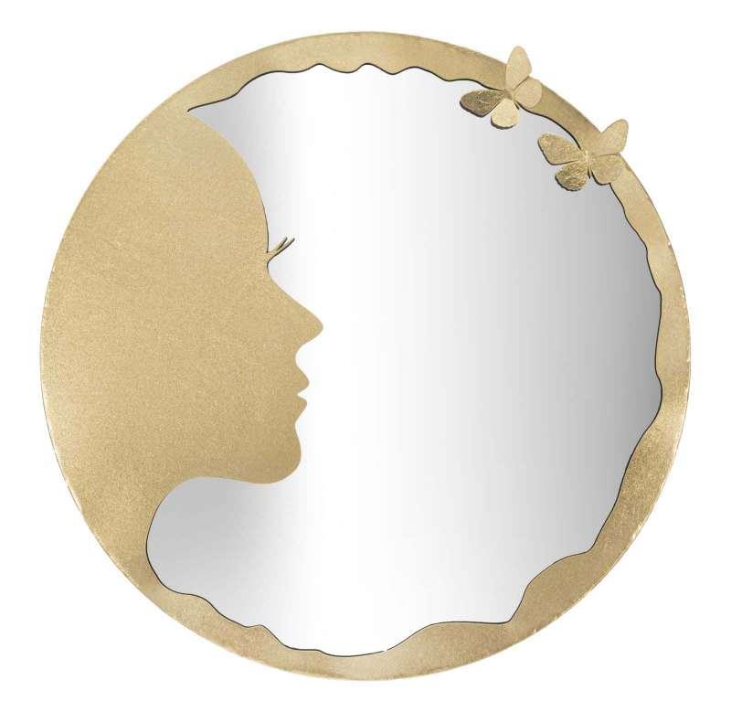 Oglindă de perete Luxy, 80x80x2.5 cm, metal/ sticla, auriu poza